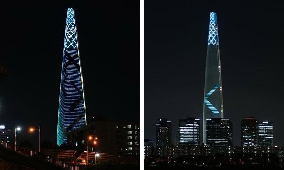 カウズの新たなパブリックアートがソウルのロッテワールドタワーに出現