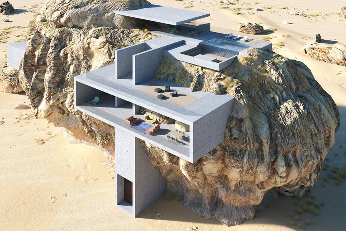 巨大な岩石とコンクリートが融合<br>古代遺跡のような「岩の中の家」