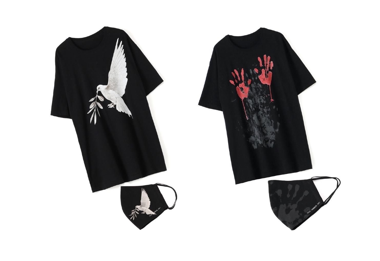 YOHJI YAMAMOTO、内田すずめとの平和を祈るコラボTシャツ+マスク発売